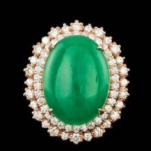Lot 196: 14K Rose Gold 12.34ct Natural Jadeite and 1.95ct Diamond Ring