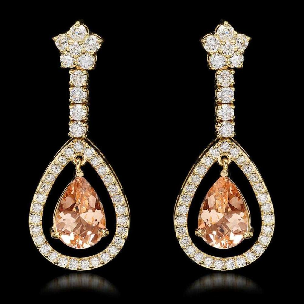 Lot 197: 14K Yellow Gold 4.92ct Morganite and 2.66ct Diamond Earrings