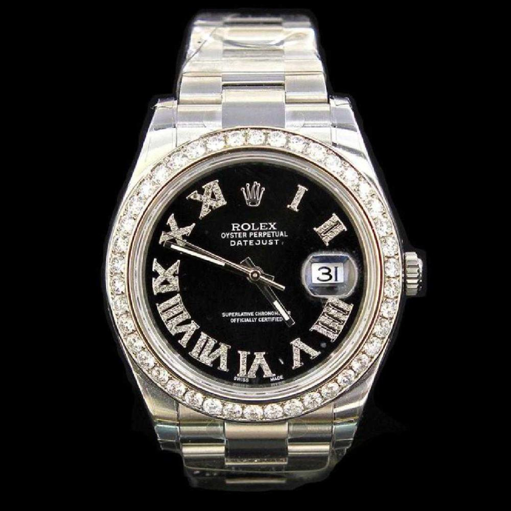 Rolex DateJust ll 41mm approx. 4.5 ct Custom Diamond Bezel  0.5 ct Custom Diamond Dial Men's Wristwatch
