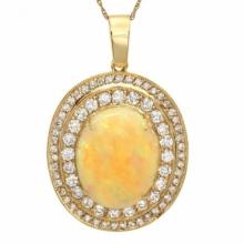Lot 199: 14K Gold 9.89ct Opal 2.38ct Diamond Pendant