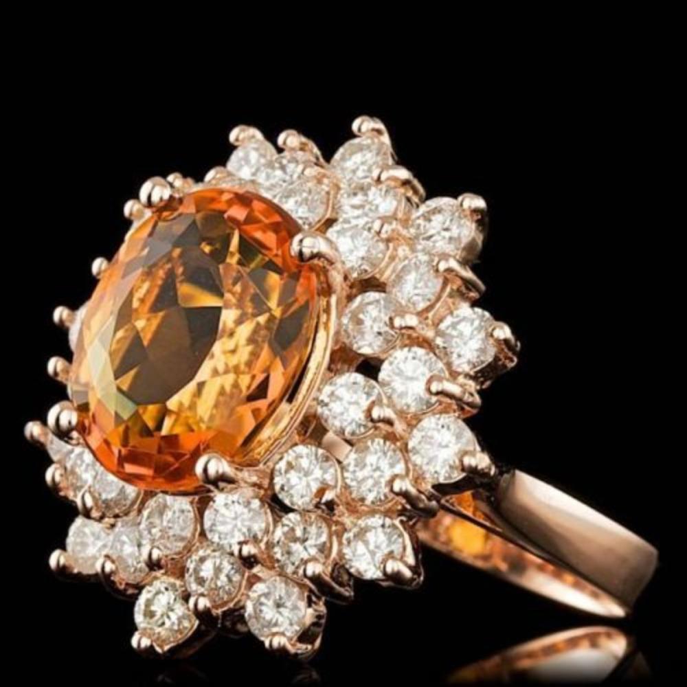 Lot 2: 14K Rose Gold 4.61ct Citrine and 2.02ct Diamond Ring