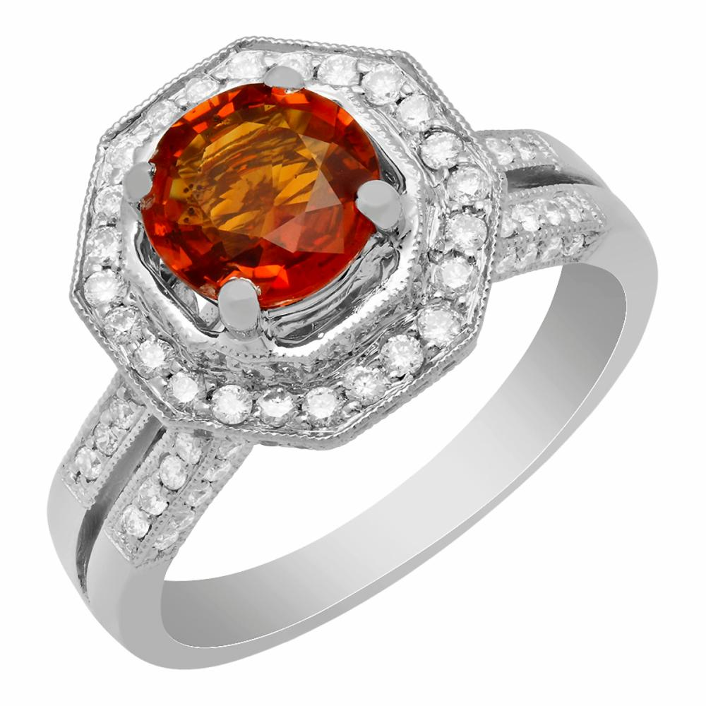 14k White Gold 2.39ct Orange Sapphire 0.68ct Diamond Ring