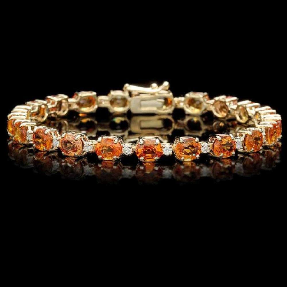 14K Yellow Gold 15.40ct Orange Sapphire and 0.85ct Diamond Bracelet