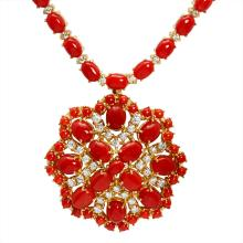 Lot 21: 14k Yellow Gold 46.91ct Coral 3.14ct Diamond Necklace