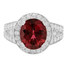 Lot 22: 14k White Gold 4.32ct Pink Tourmaline 1.17ct Diamond Ring