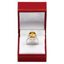 Lot 24: 14k White Gold 4.10ct Yellow Beryl 0.97ct Diamond Ring