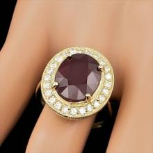 Lot 25: 14K Yellow Gold 10.39ct Ruby and 0.92ct Diamond Ring