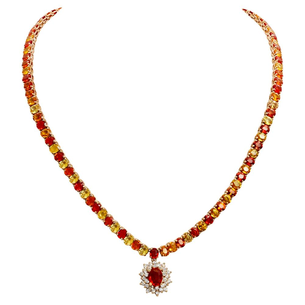 14k Yellow Gold 46.01ct Sapphire 1.32ct Diamond Necklace