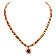 Lot 26: 14k Yellow Gold 46.01ct Sapphire 1.32ct Diamond Necklace