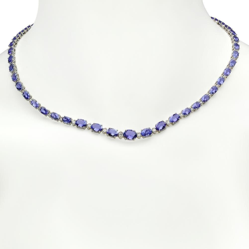 14K Gold 23.76ct Tanzanite 0.99ct Diamond Necklace
