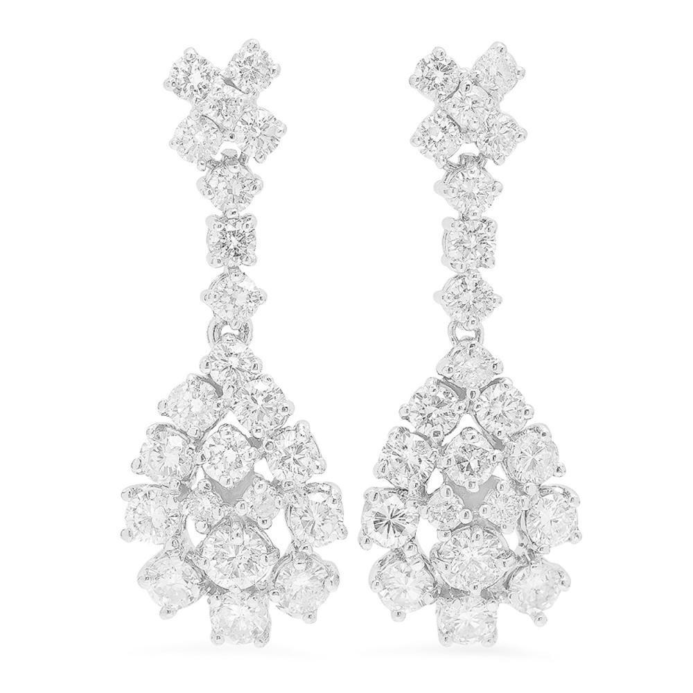 Lot 29: 14K Gold 2.91ct Diamond Earrings