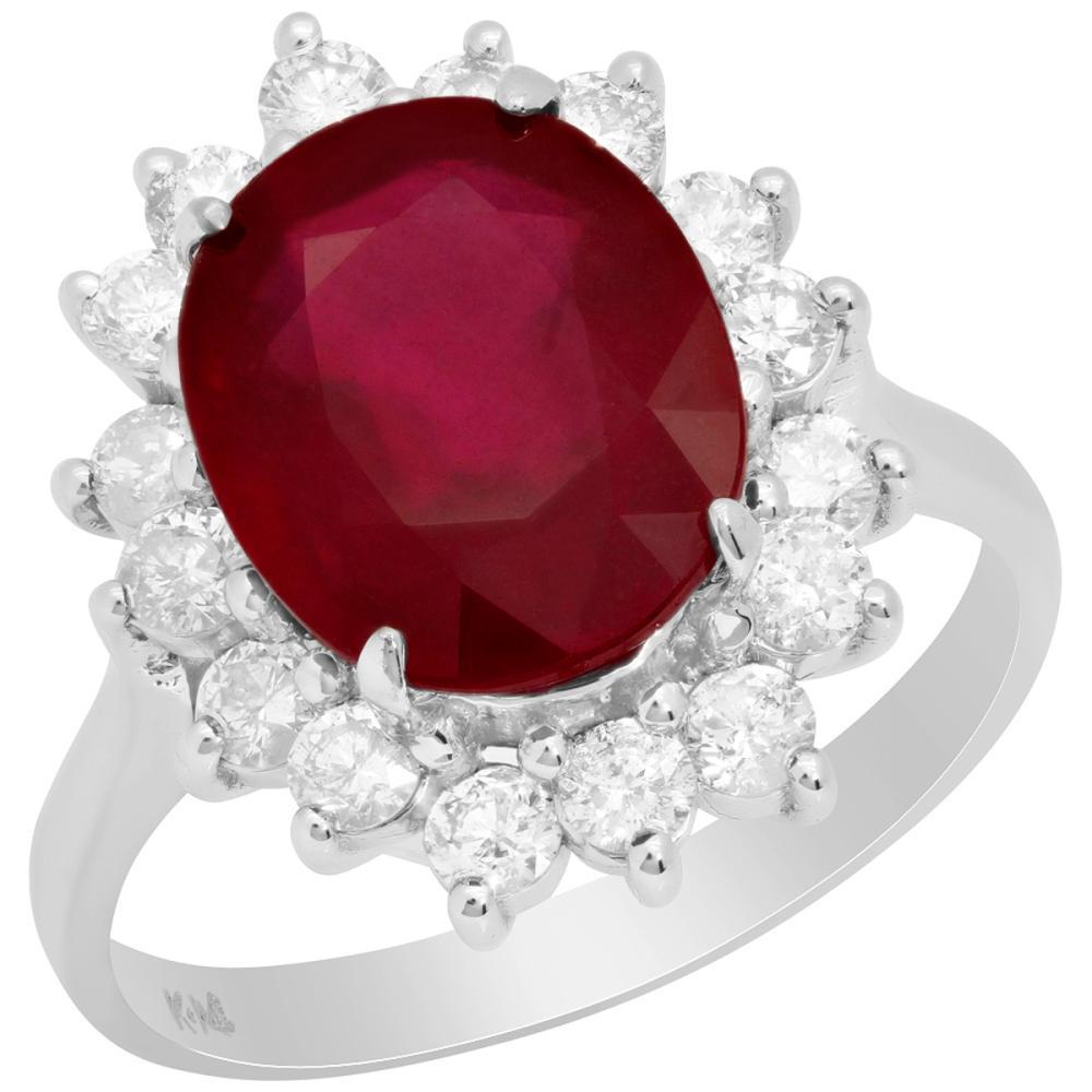 Lot 30: 14k White Gold 4.74ct Ruby 0.84ct Diamond Ring