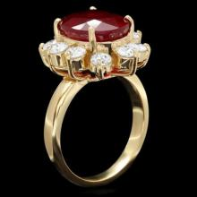Lot 33: 14K Yellow Gold7.86ct Ruby and 1.38ct Diamond Ring