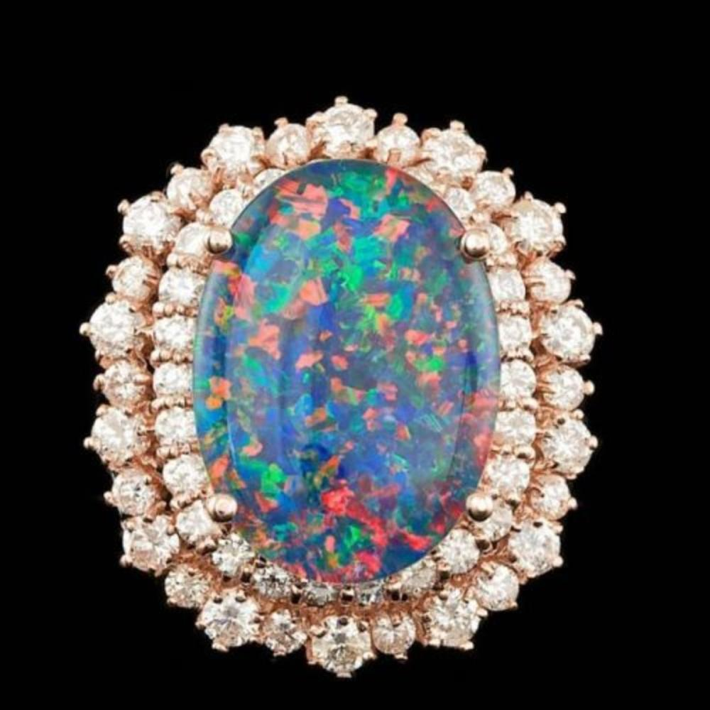 Lot 34: 14K Rose Gold 6.07ct Opal and 1.98ct Diamond Ring