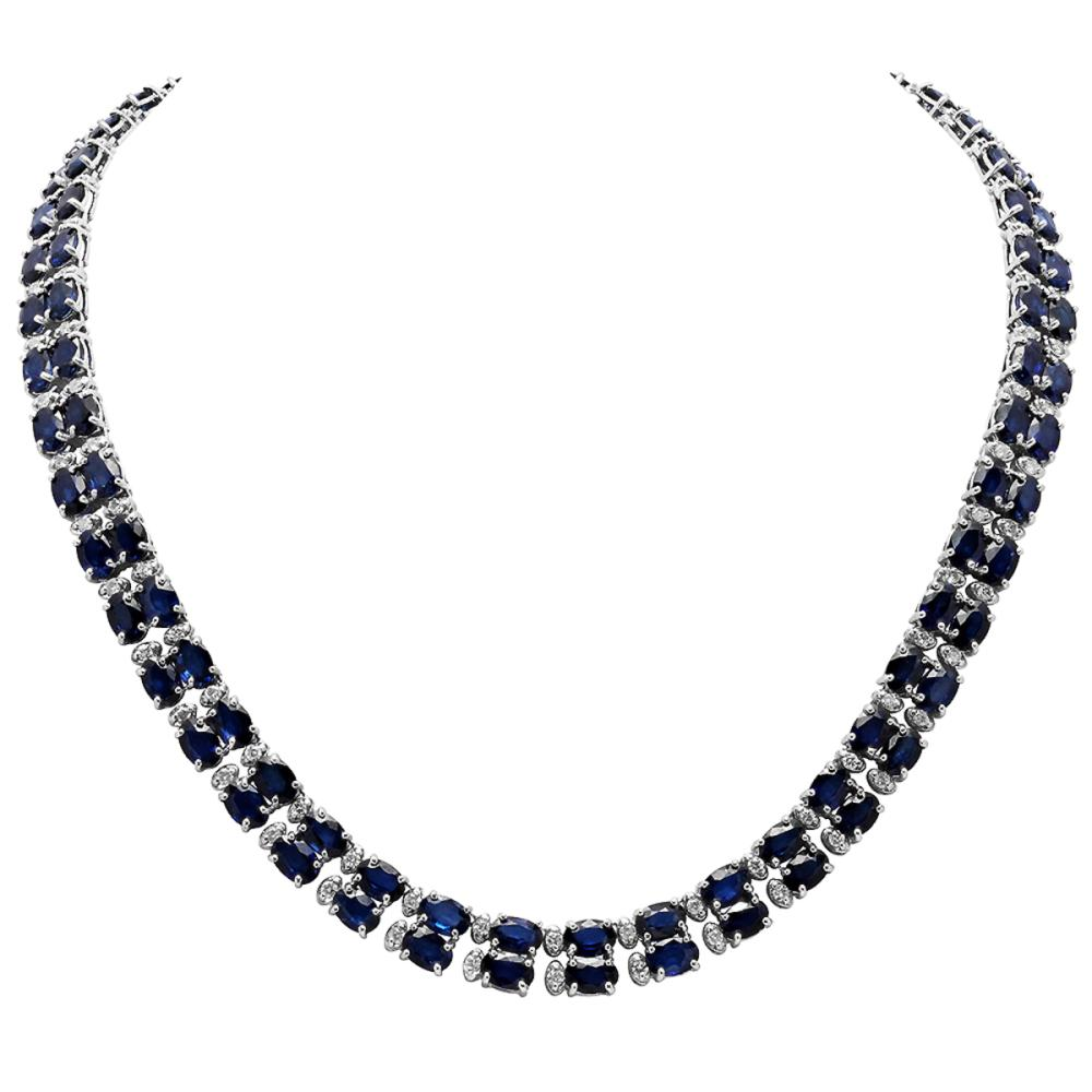 Lot 35: 14k White Gold 52.31ct Sapphire 2.55ct Diamond Necklace