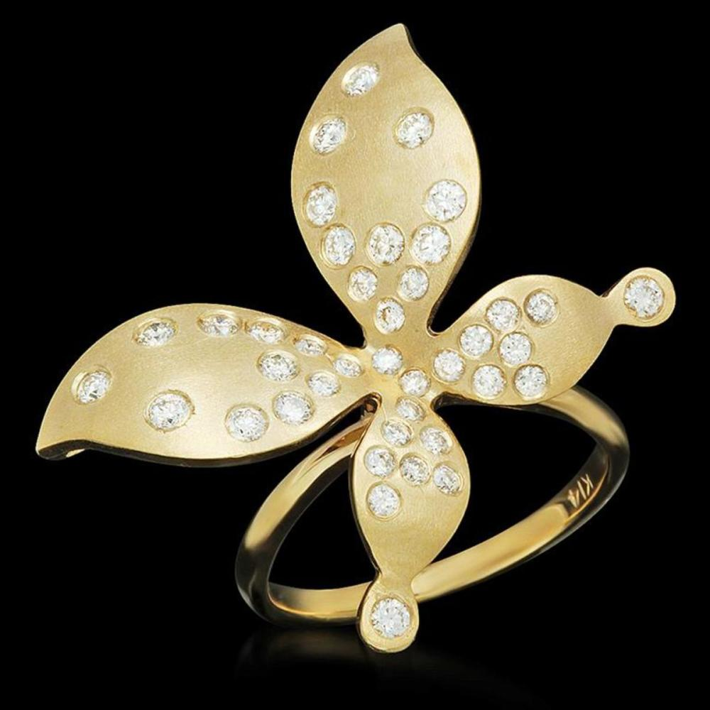 "14K Yellow Gold 0.85ct Diamond Butterfly"" Ring"""