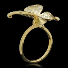"Lot 36: 14K Yellow Gold 0.85ct Diamond Butterfly"" Ring"""