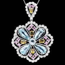 Lot 38: 14K Gold 6.97ct Aquamarine 1.53ct Sapphire 2.43ct Beryl and 1.07ct Diamond Pendant