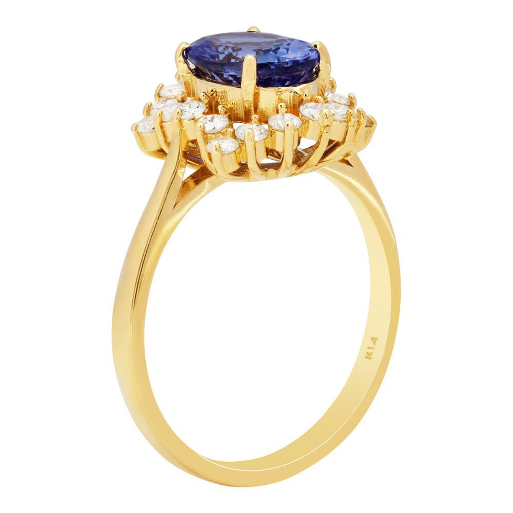 Lot 40: 14k Yellow Gold 1.71ct Tanzanite 0.55ct Diamond Ring