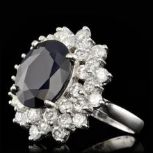 Lot 42: 14K White Gold 7.41ct Sapphire and 2.63ct Diamond Ring