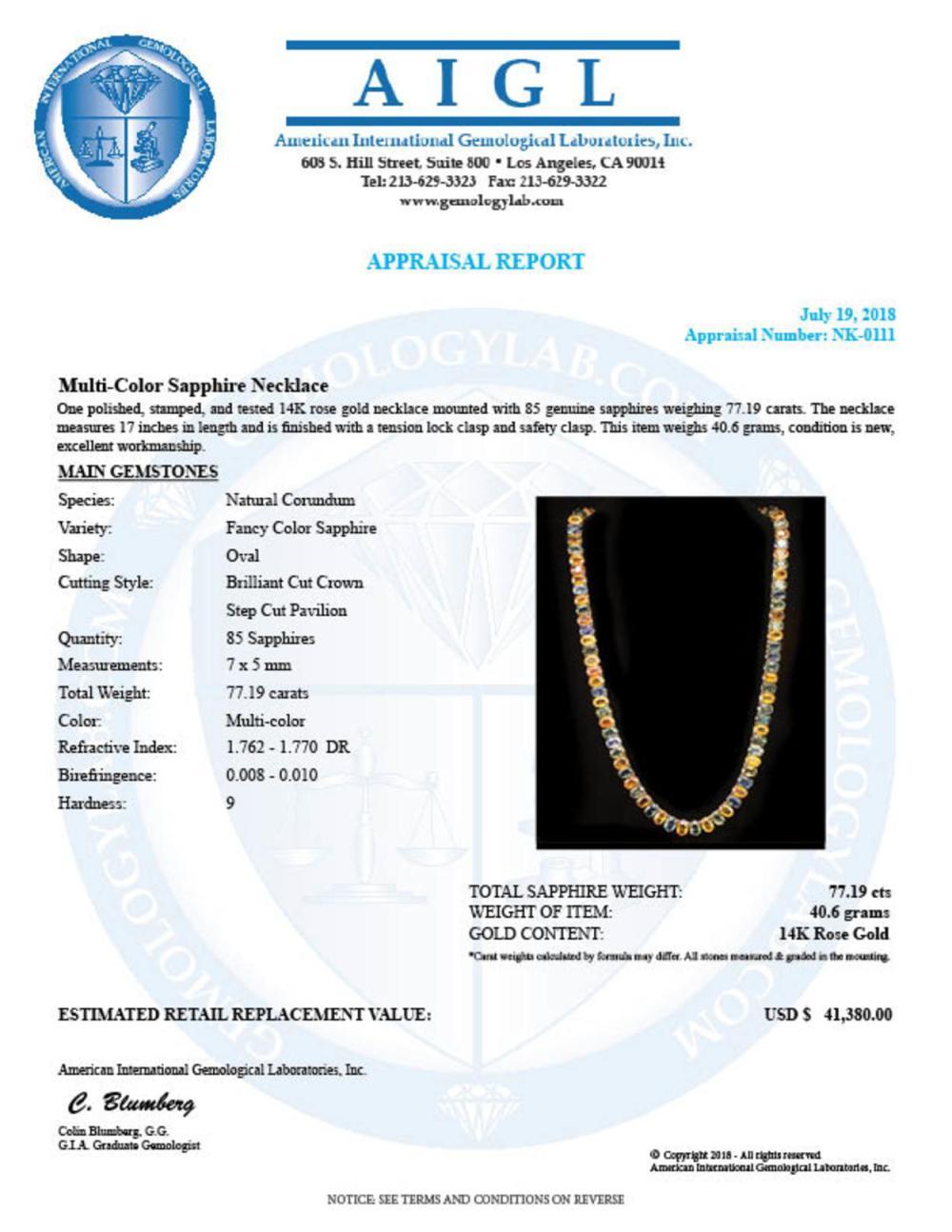 Lot 43: 14K Gold 77.19ct Multi-Color Sapphire Necklace