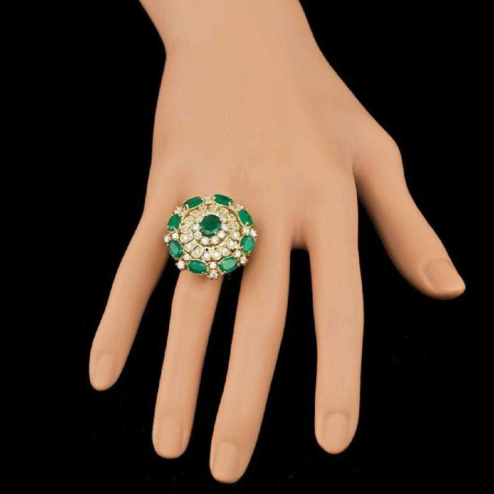 Lot 45: 14K Yellow Gold 4.87ct Emerald and 1.99ct Diamond Ring