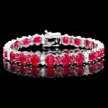 Lot 49: 14K Gold 25.0ct Ruby 1.28ct Diamond Bracelet