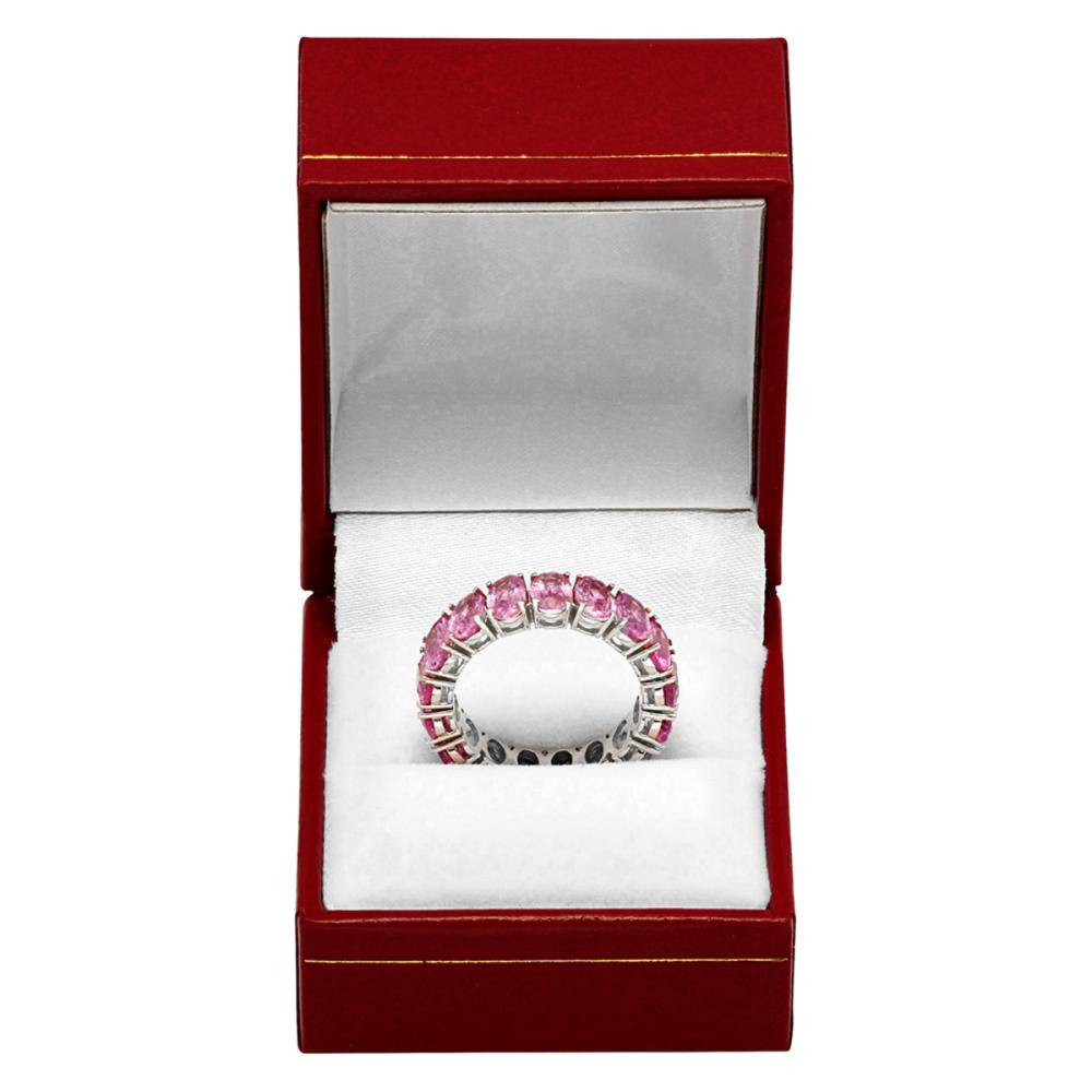Lot 5: 14k White Gold 10.16ct Pink Sapphire Eternity Band