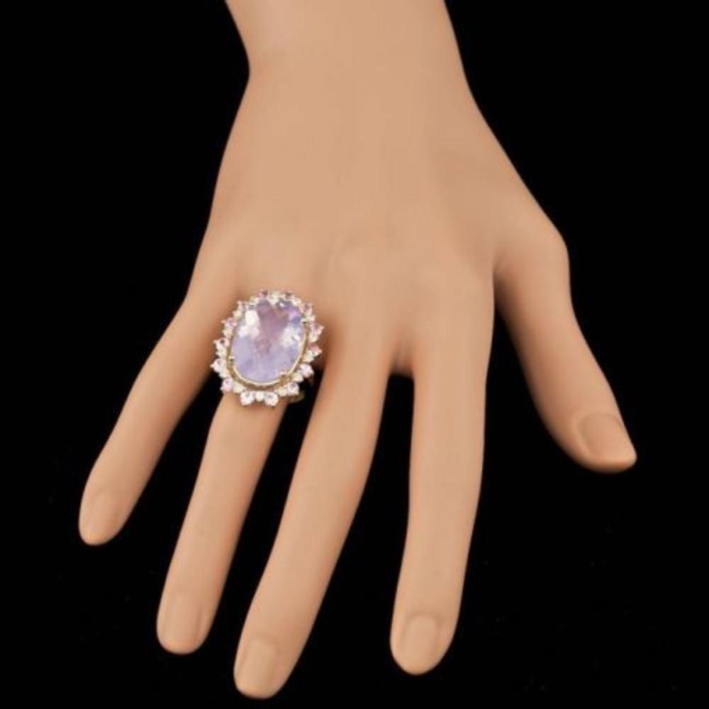 Lot 50: 14K Yellow Gold 13.87ct Amethyst 1.99ct Sapphire and 0.72ct Diamond Ring