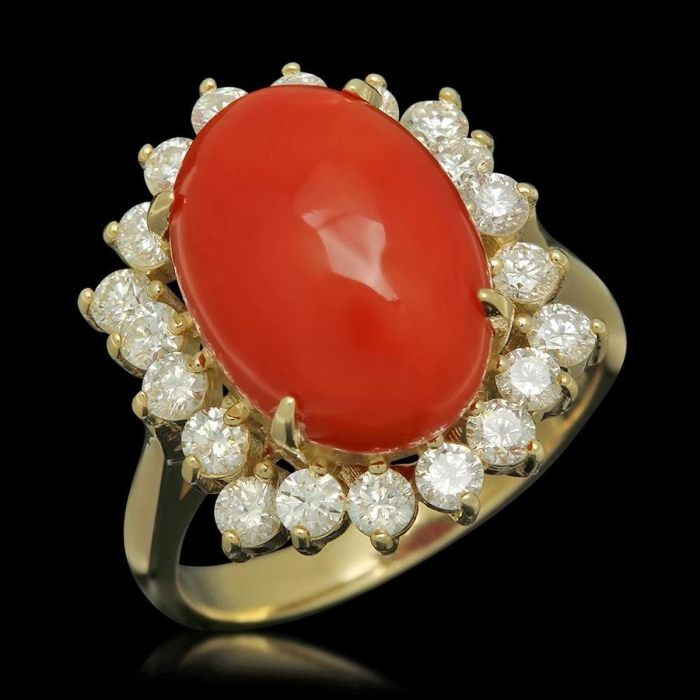 14K Yellow Gold 5.68ct Coral and 1.01ct Diamond Ring