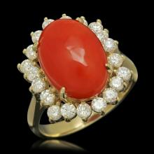 Lot 51: 14K Yellow Gold 5.68ct Coral and 1.01ct Diamond Ring