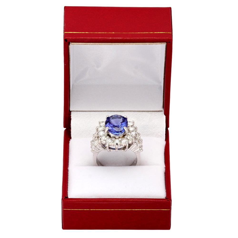 Lot 52: 14k White Gold 5.49ct Tanzanite 3.12ct Diamond Ring