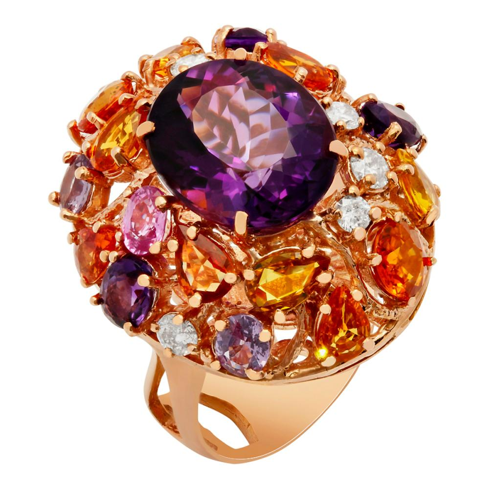 14k Rose Gold 8.75ct Amethyst 6.14ct Multi-Stone 0.76ct Diamond Ring