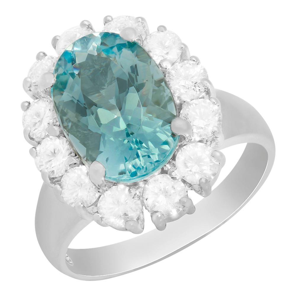 Lot 55: 14k White Gold 3.57ct Aquamarine 1.32ct Diamond Ring