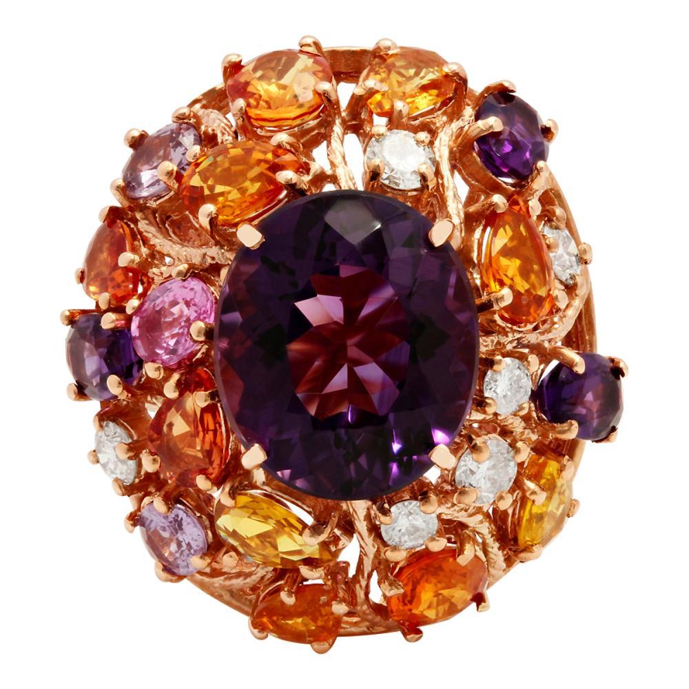 Lot 54: 14k Rose Gold 8.75ct Amethyst 6.14ct Multi-Stone 0.76ct Diamond Ring