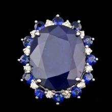 Lot 56: 14K White Gold 25.10ct Sapphire and 0.61ct Diamond Ring