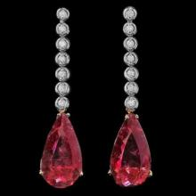 Lot 57: 14k 21.32ct Tourmaline 0.55ct Diamond Earrings