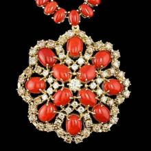 Lot 58: 14K Yellow Gold 56.35ct Coral and 5.38ct Diamond Necklace
