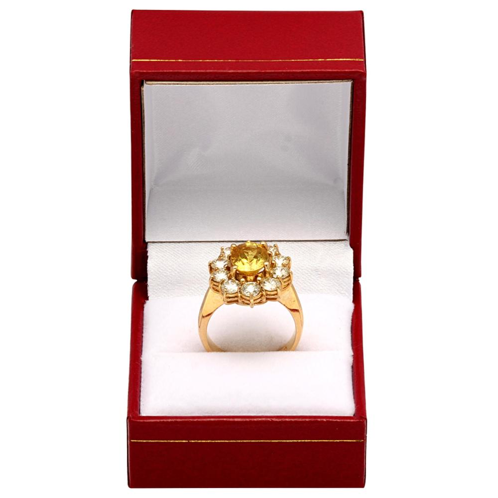 Lot 6: 14k Yellow Gold 3.50ct Yellow Sapphire 2.18ct Diamond Ring
