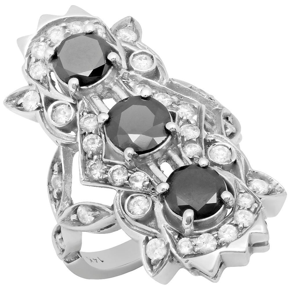 Lot 60: 14k White Gold 2.76ct & 1.75ct Diamond Ring