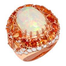 Lot 61: 14k Rose Gold 7.02ct White Opal 9.56ct Orange Sapphire 2.28ct Diamond Ring