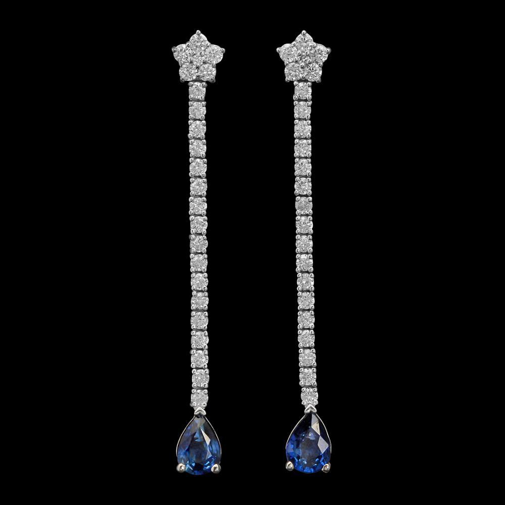 Lot 62: 14K Gold 1.70ct Sapphire 1.15ct Diamond Earrings