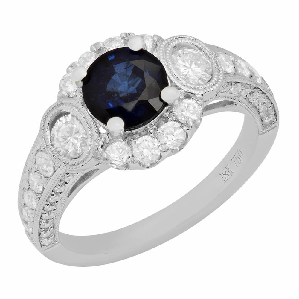 14k White Gold 1.28ct Sapphire 0.84ct Diamond Ring