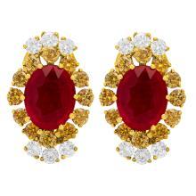 Lot 65: 14k Yellow Gold 5.71ct Ruby 0.72ct & 1.56ct Diamond Earrings
