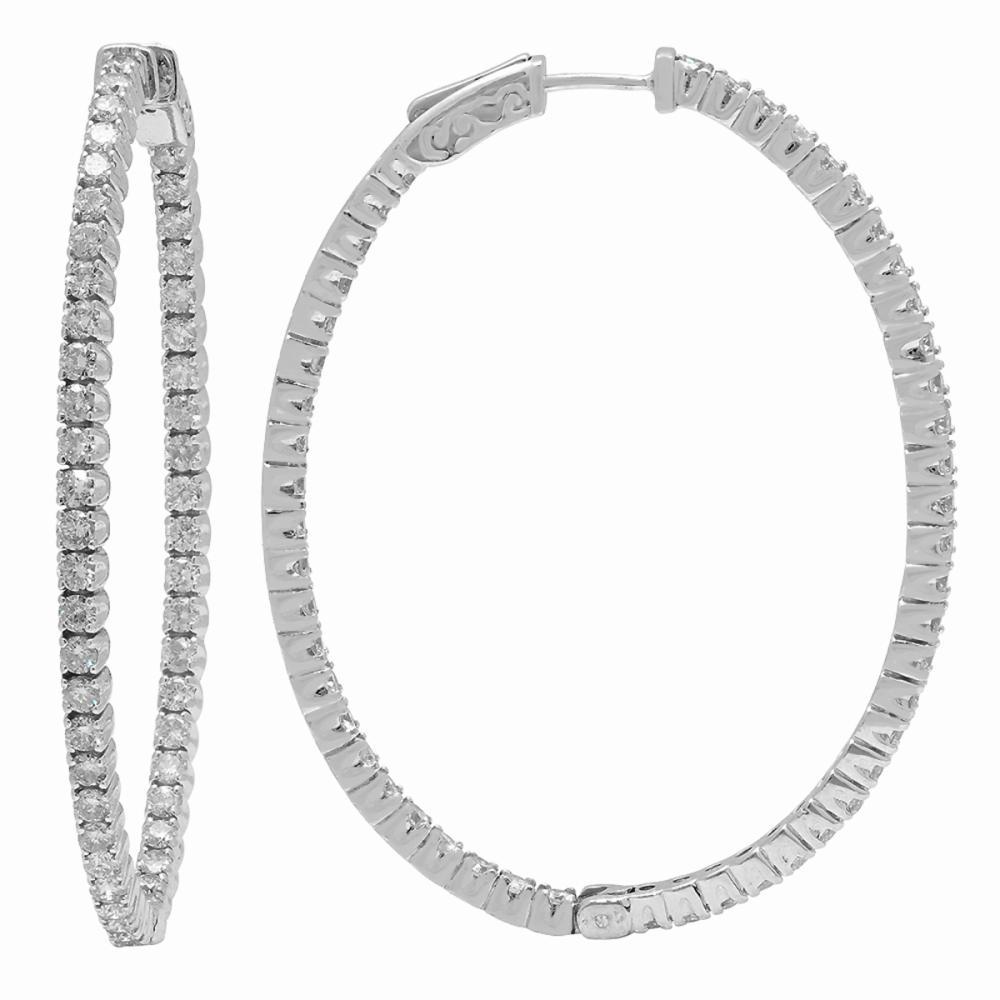 Lot 68: 14k White Gold 3.89ct Diamond Earrings