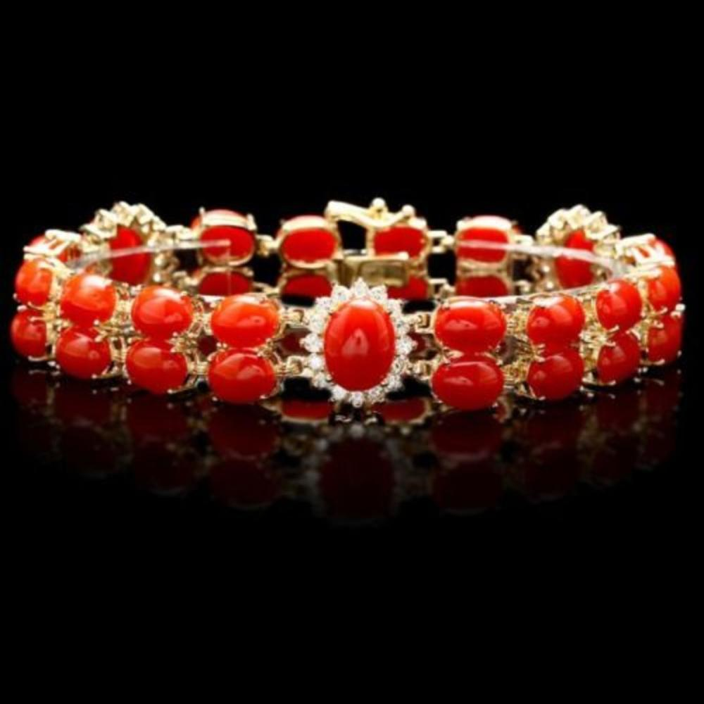 14K Gold 34.82ct Coral 1.69ct Diamond Bracelet