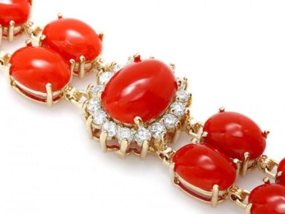 Lot 69: 14K Gold 34.82ct Coral 1.69ct Diamond Bracelet