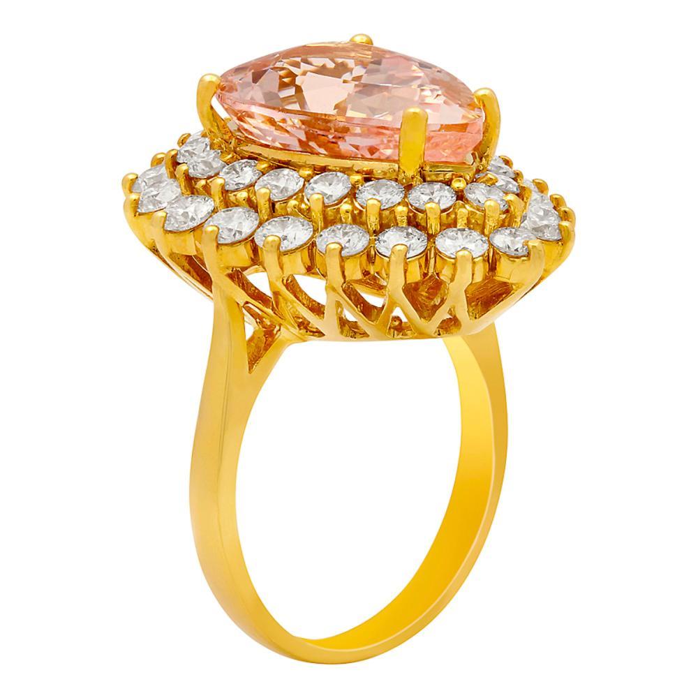 Lot 7: 14k Yellow Gold 6.91ct Morganite 2.71ct Diamond Ring