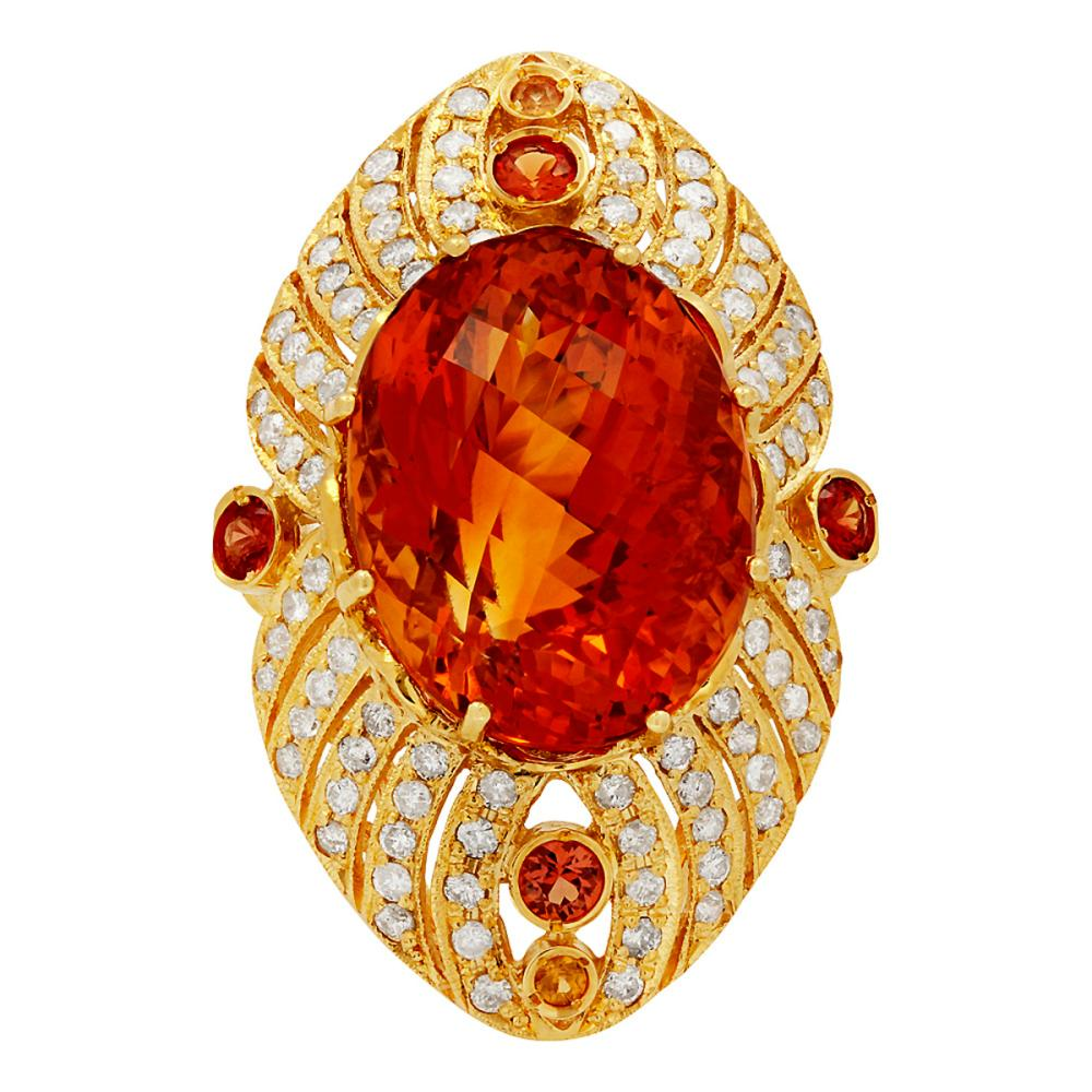 Lot 71: 14k Yellow Gold 25.16ct Citrine 0.95ct Sapphire 1.75ct Diamond Ring