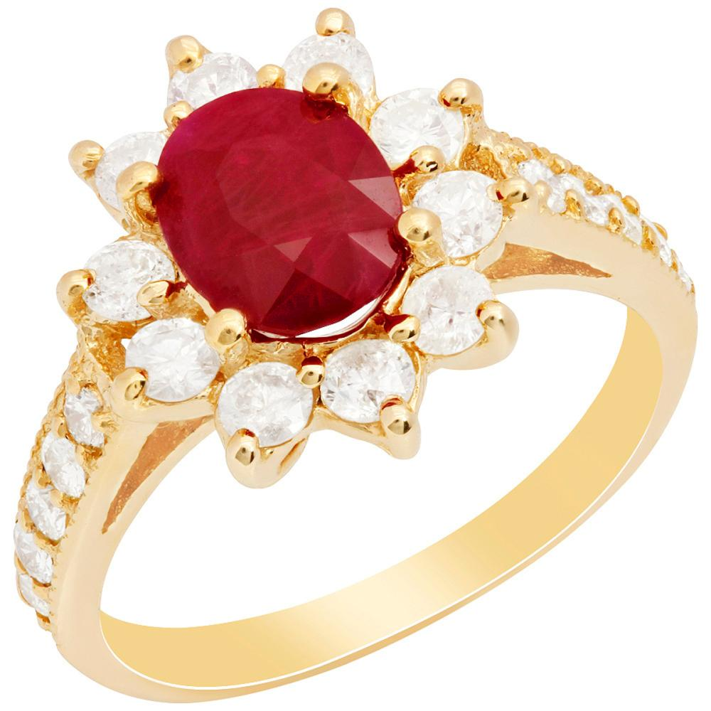 14k Yellow Gold 1.61ct Ruby 1.00ct Diamond Ring